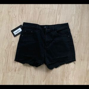 Black High Waisted Distressed Denim Shorts